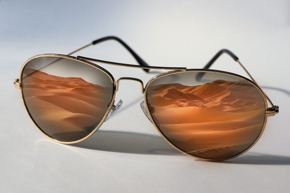 sunglasses, desert, reflection
